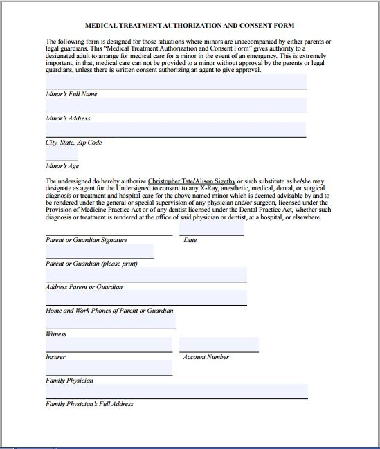 Sample Medical Consent Form | Printable Medical Forms, Letters