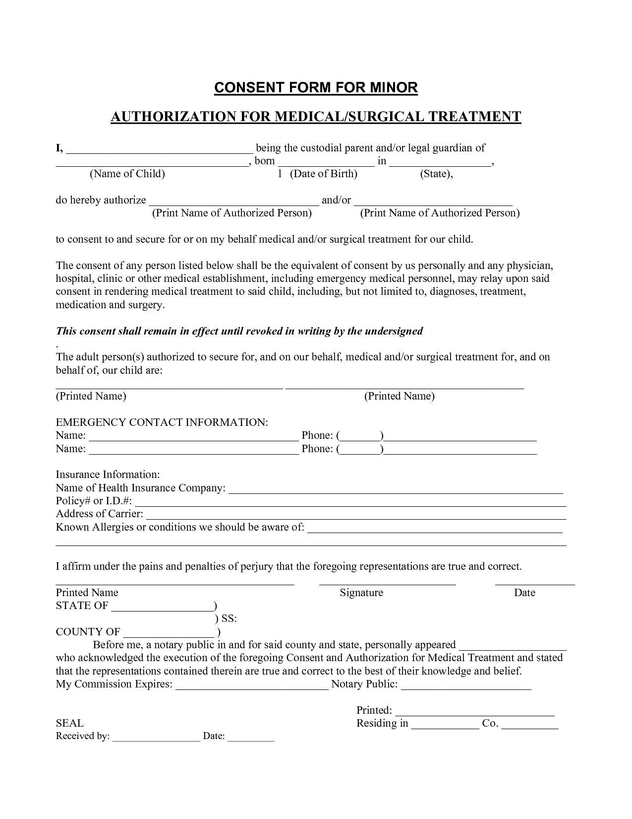 It's just a photo of Striking Printable Medical Consent Form for Minor