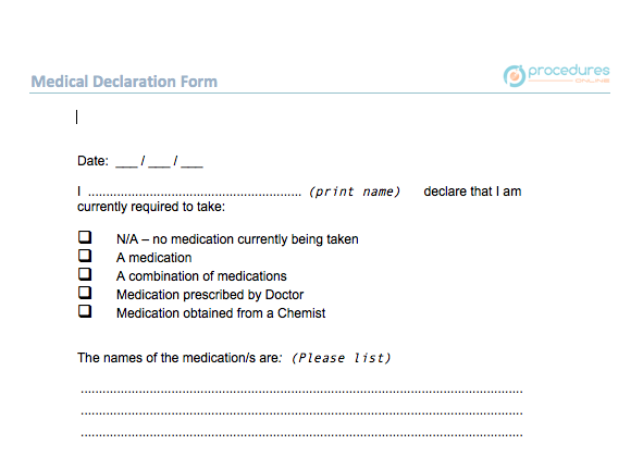 F HR 005 Medical Declaration Form – Procedures Online