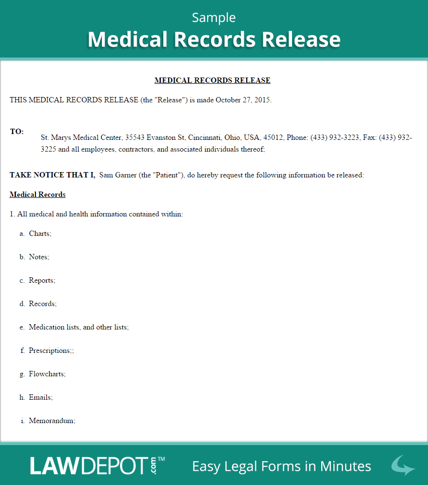 Medical Release Of Information Form Template. medical information