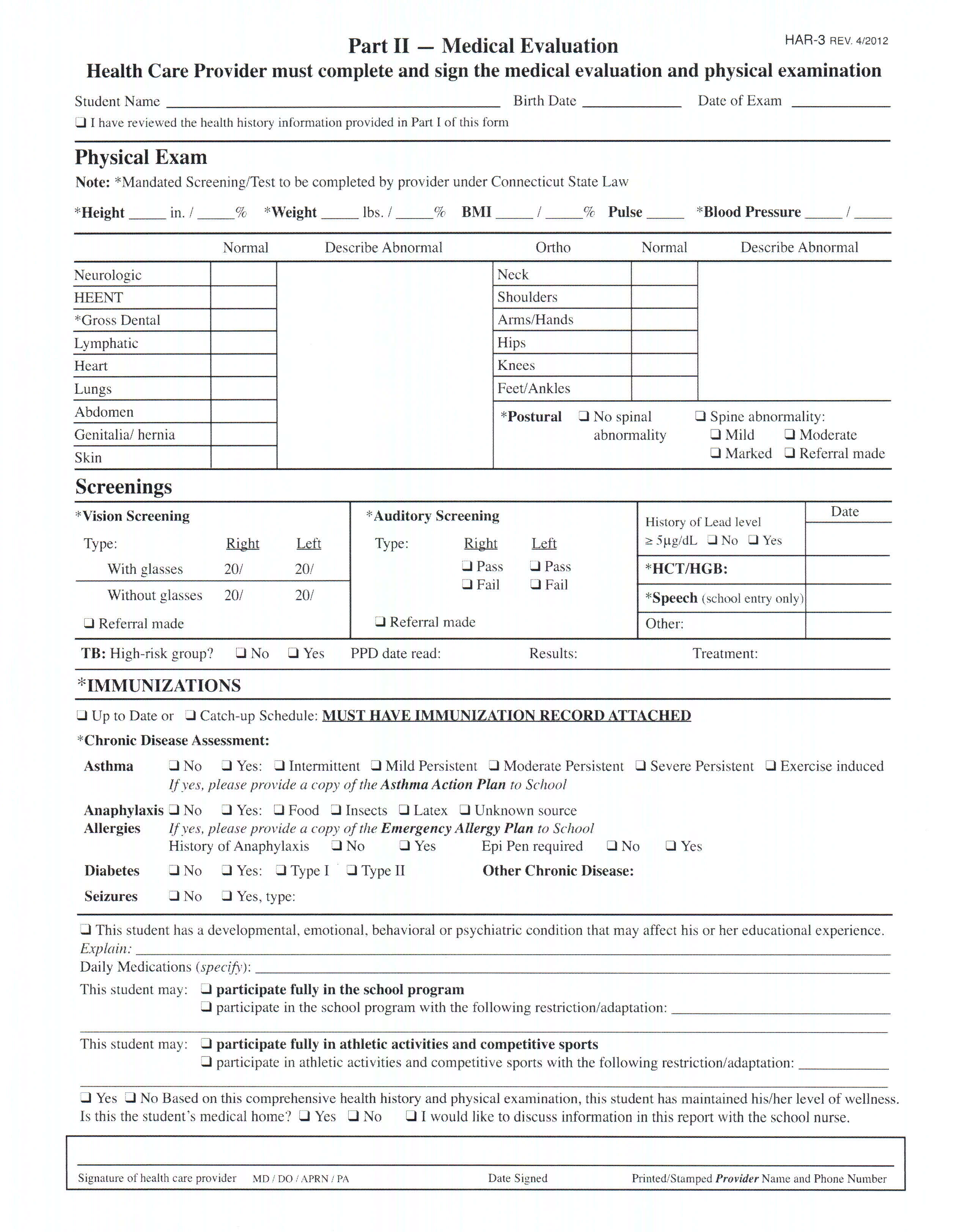 Best Photos of Sample Of Medical Evaluation Forms Medical