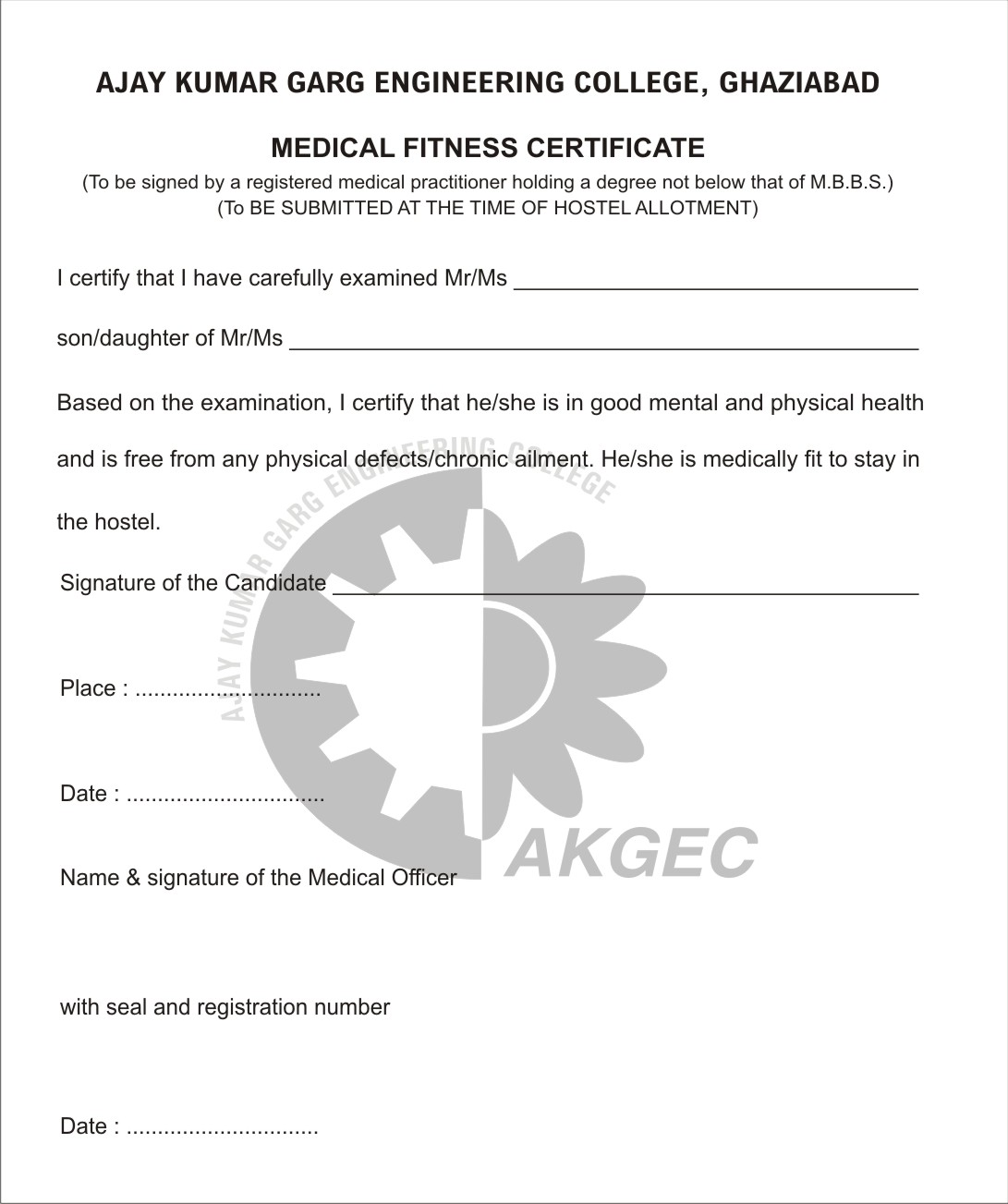 example of medical certificate of good health copy medical fitness