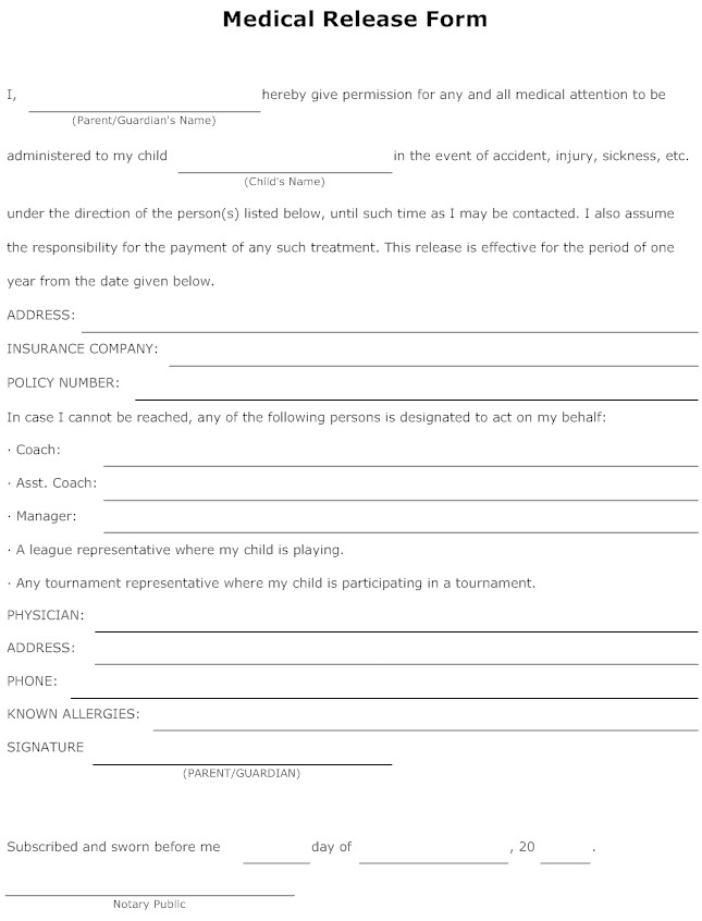 Medical Form Example  Templates Free Printable