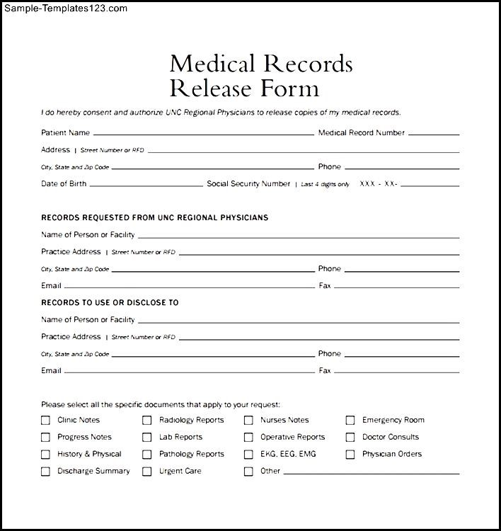 Medical Records Release Form Example | Sample Templates