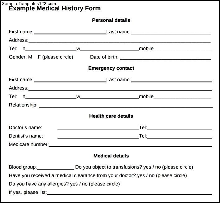 PDF Download Example For Medical History Form | Sample Templates