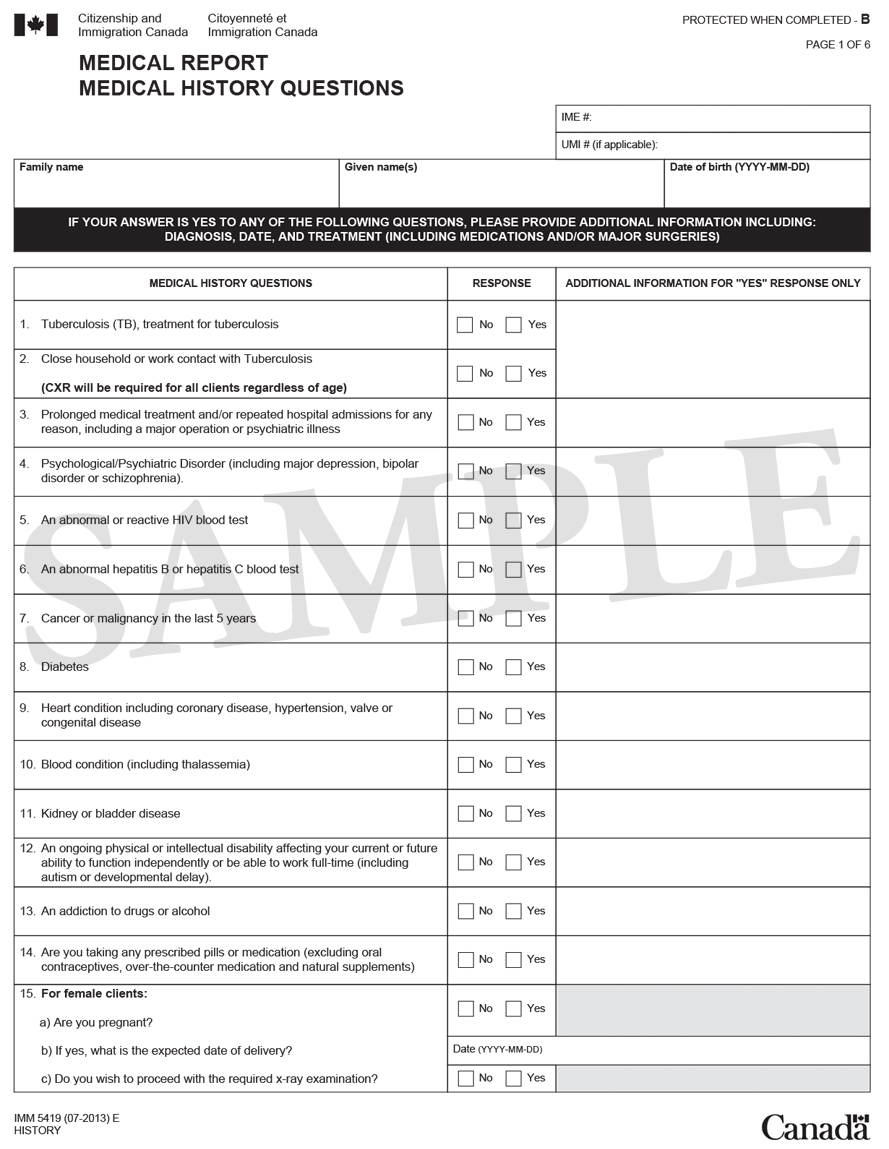 Medical Form Immigration