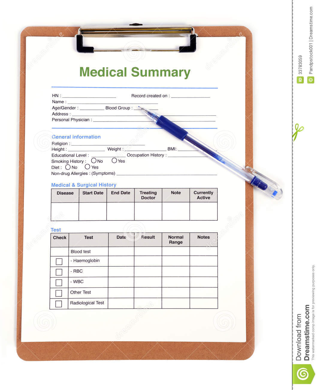 Medical Form Royalty Free Stock Images Image: 33783059