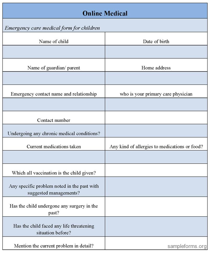 Online medical form, sample Online medical form | Sample Forms