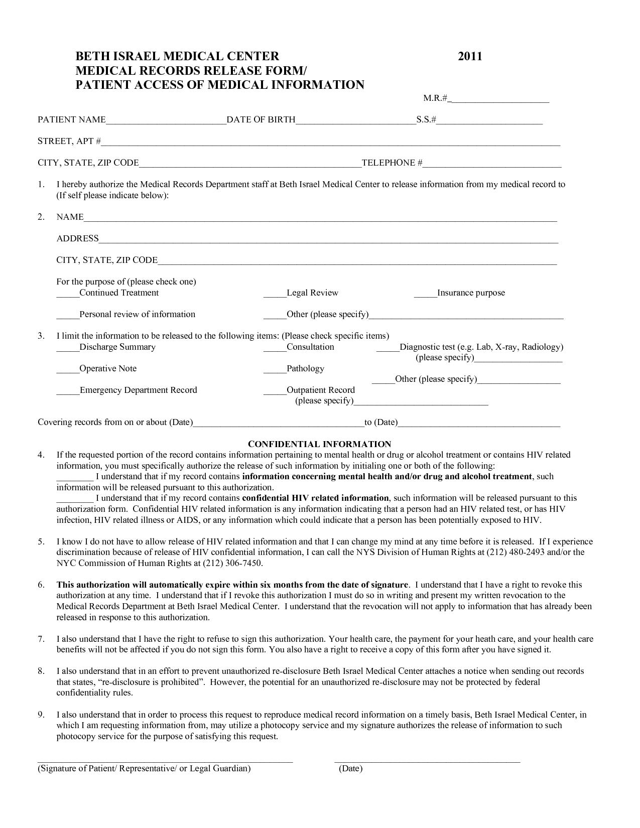Medical Release Of Information Form Template. medical information