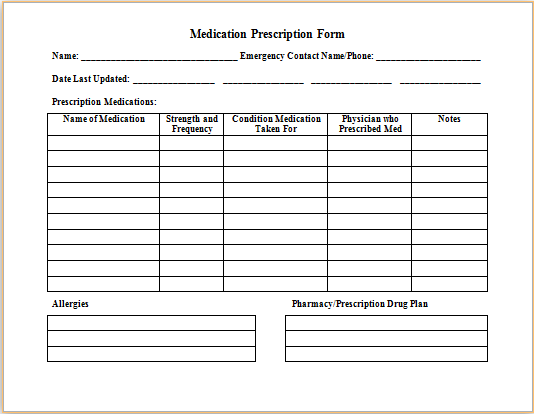 Medical form templates microsoft word templates free for Blank medication list templates
