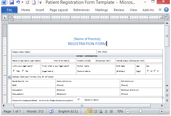 Medical form templates microsoft word templates free for Free patient information form template