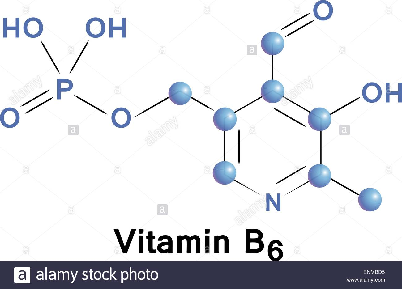Vitamin B6 Chemical Formula, Molecule Structure, Medical Vector