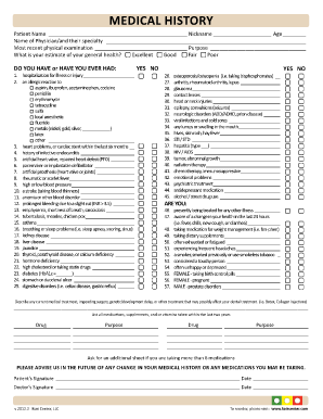 Printable Medical History Form