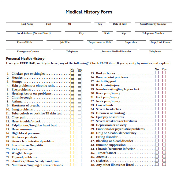 Medical History Forms | Templates in Word and PDF Format