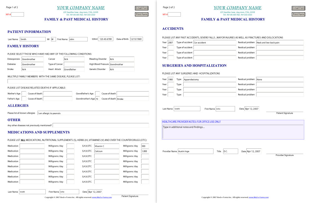 Medical History Form Template  Medical Record Form Template