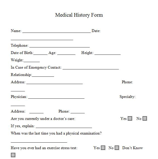 medical history form Fill Online, Printable, Fillable, Blank