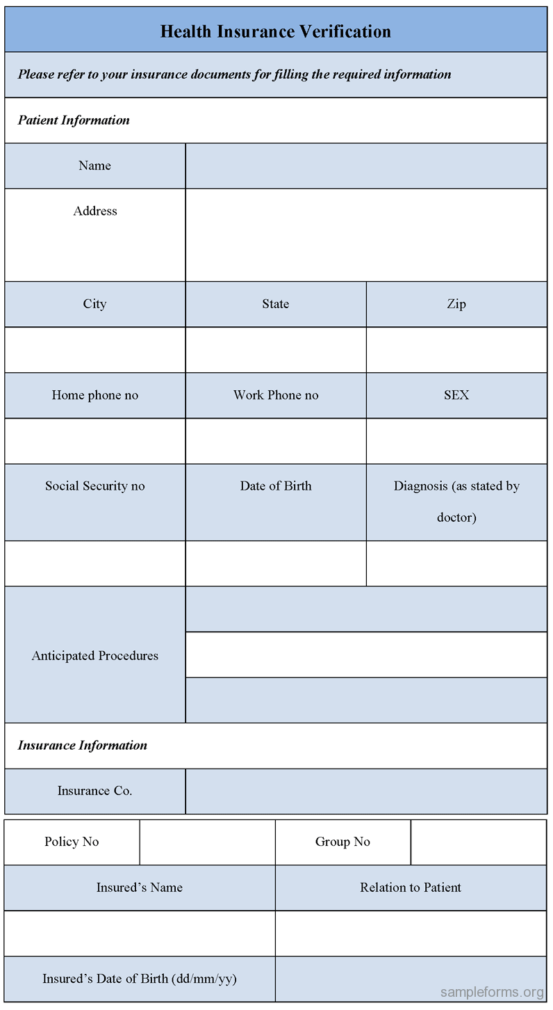 Health Insurance Verification Form, Sample Health Insurance