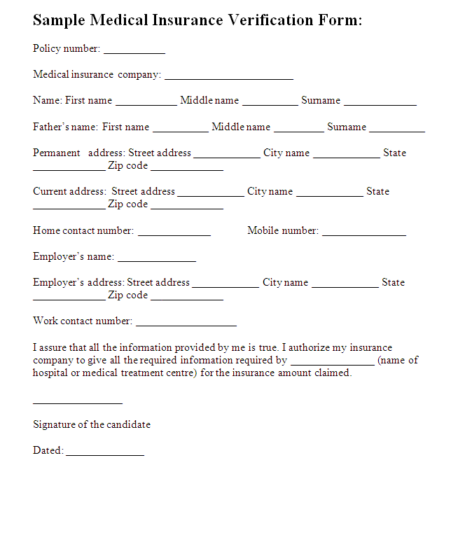 Medical Insurance Verification Form Template