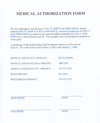 Medical Consent Form Grandparents, Sample Medical Consent Form