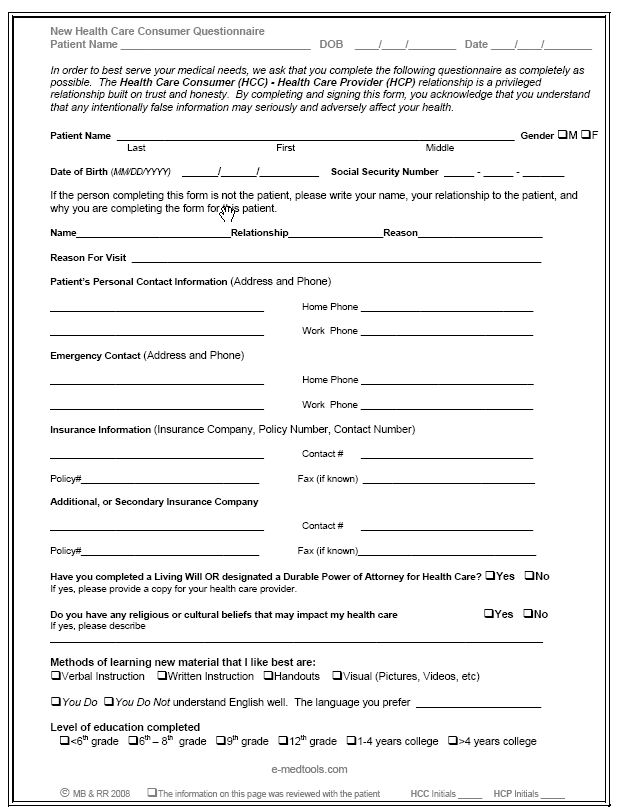 Medical questionnaire form templates free printable for Health questionnaire form template