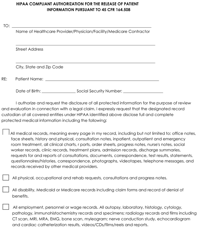 medical records release form  u2013 templates free printable