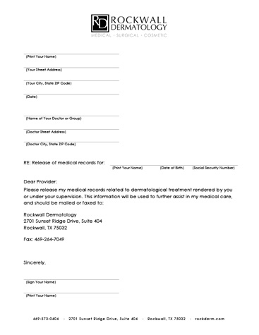 Medical Records Release Form  Templates Free Printable