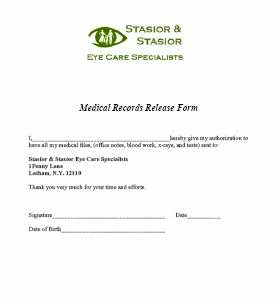 Medical Records Release Form in Word and Pdf formats