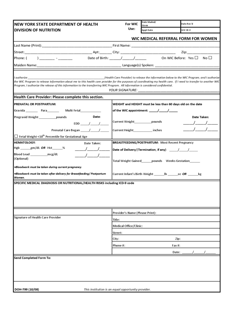 Printable Doctor Referral Form