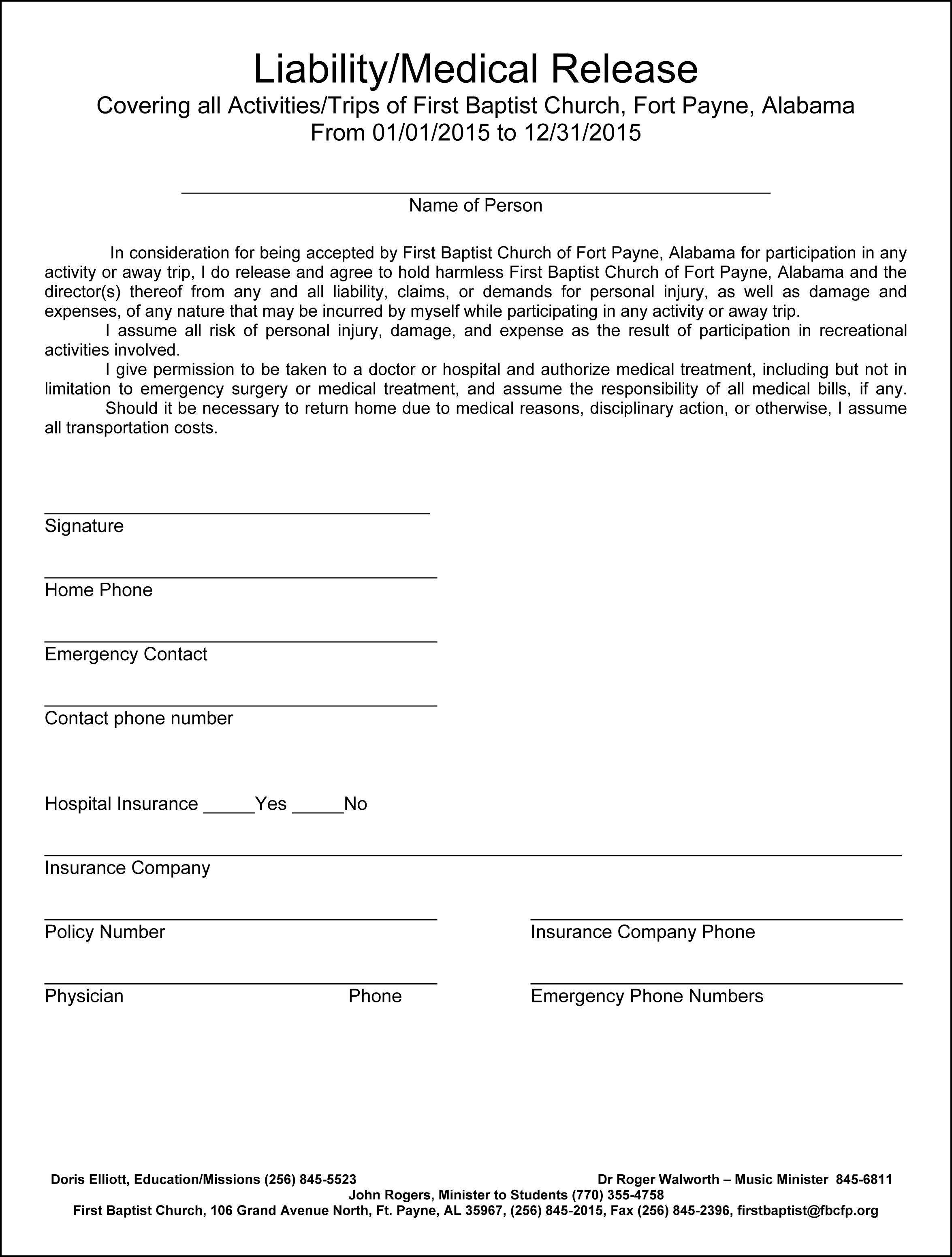 Medical release form for adults templates free printable for Release from liability form template