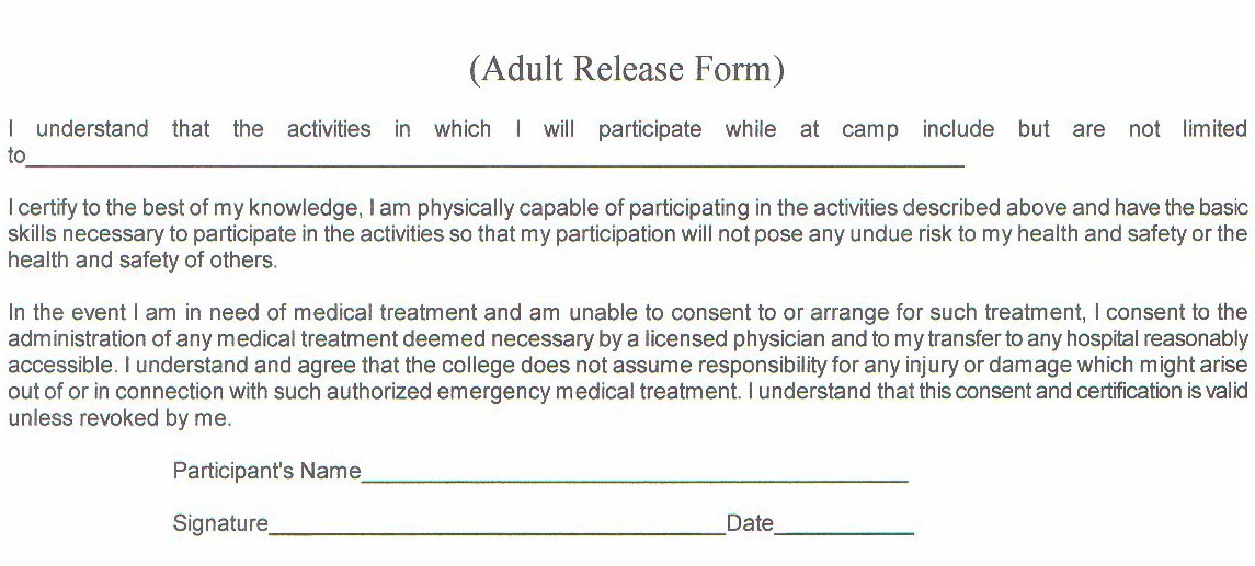Fillable Online Medical Release Form Adults Fax Email Print