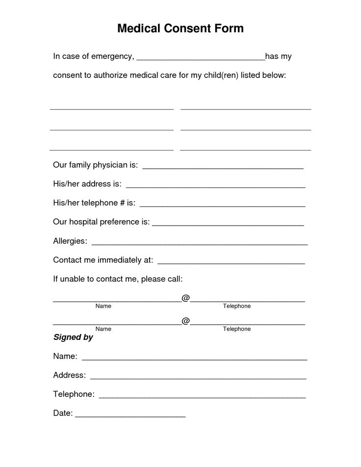 Printable Medical Release Form For Children. free printable