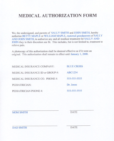 Medical Release Form For Minors
