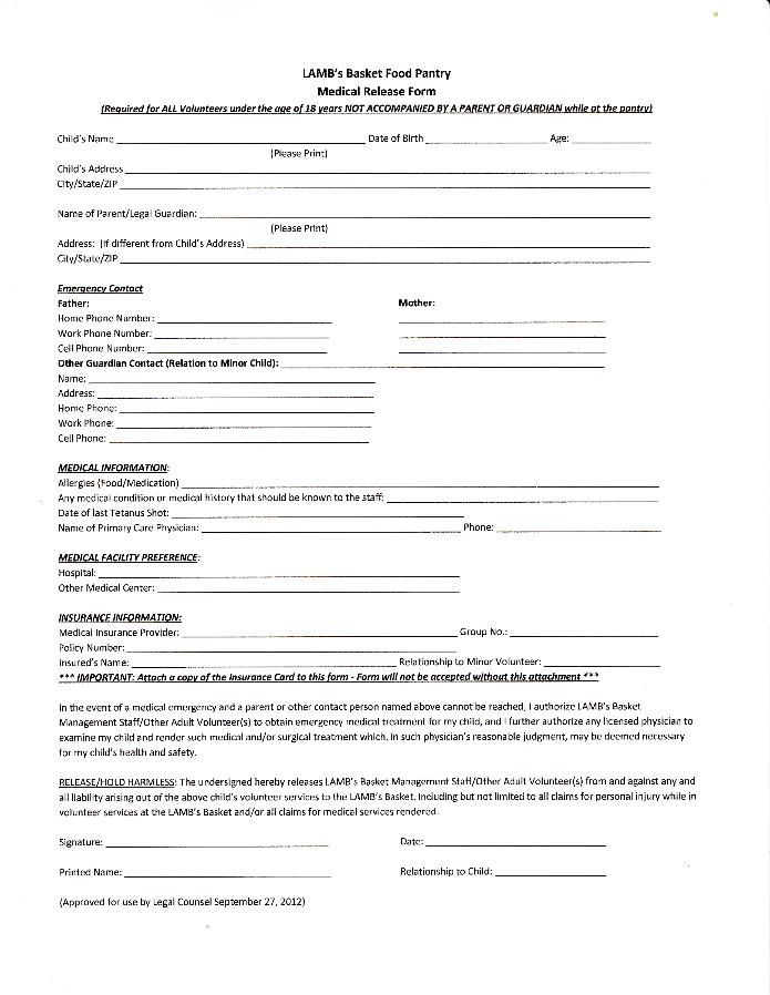 Medical release form for minors templates free printable for Free opt in form templates