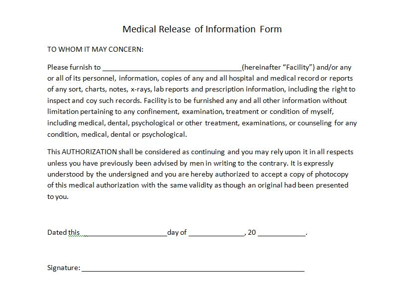 Printable Medical Release Form For Children. medical authorization