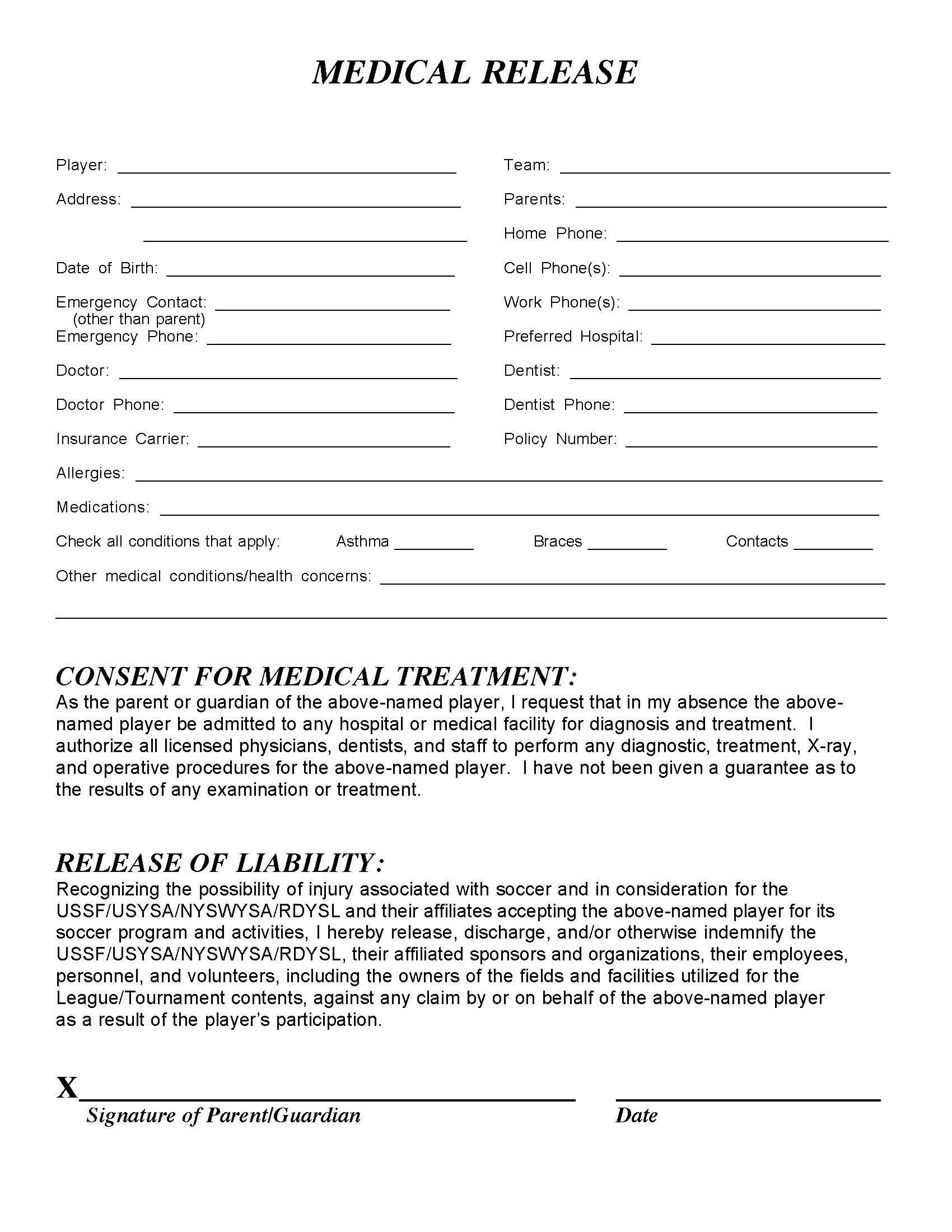 Medical Release Form U2013 Templates Free Printable