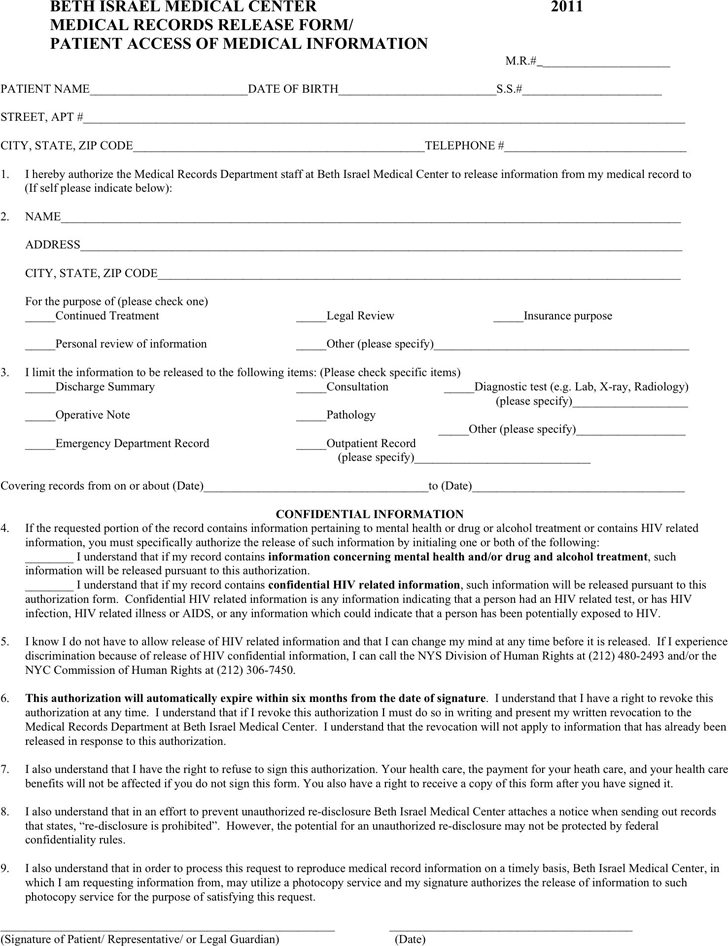 New York Medical Release Form For Minor Child pdf free — 2 pages