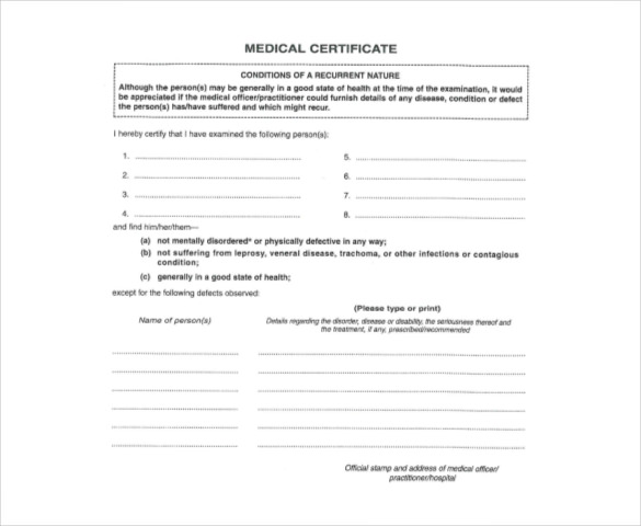 Medical Report Form, sample Medical Report Form | Sample Forms