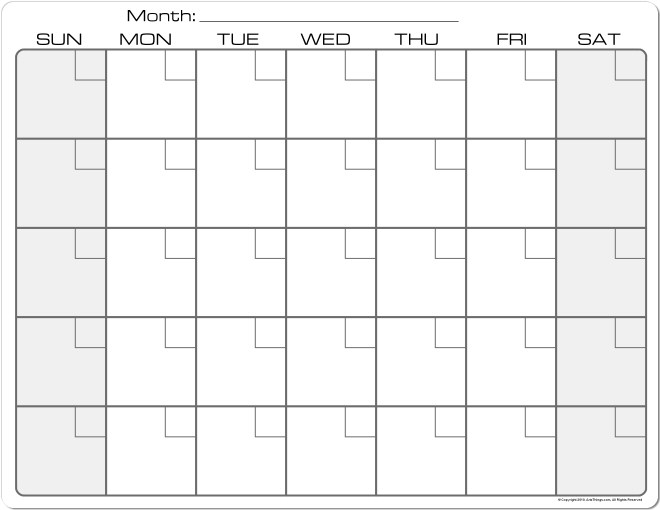 Monthly Calendar – 2017 printable calendar