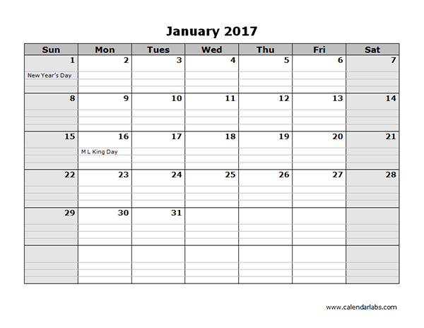 Free 2017 Monthly Calendar Template (Sunday Start)