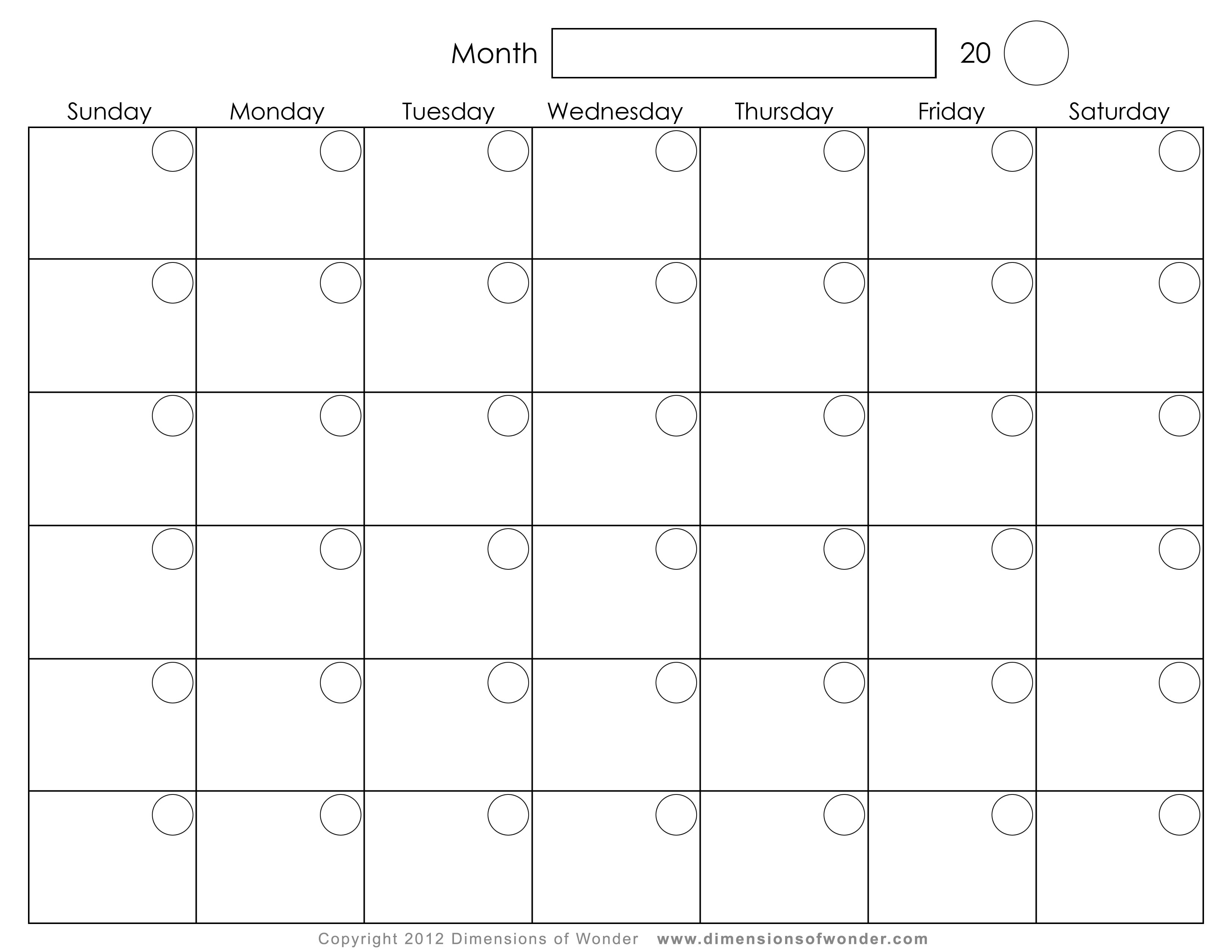 monthly printable calendar