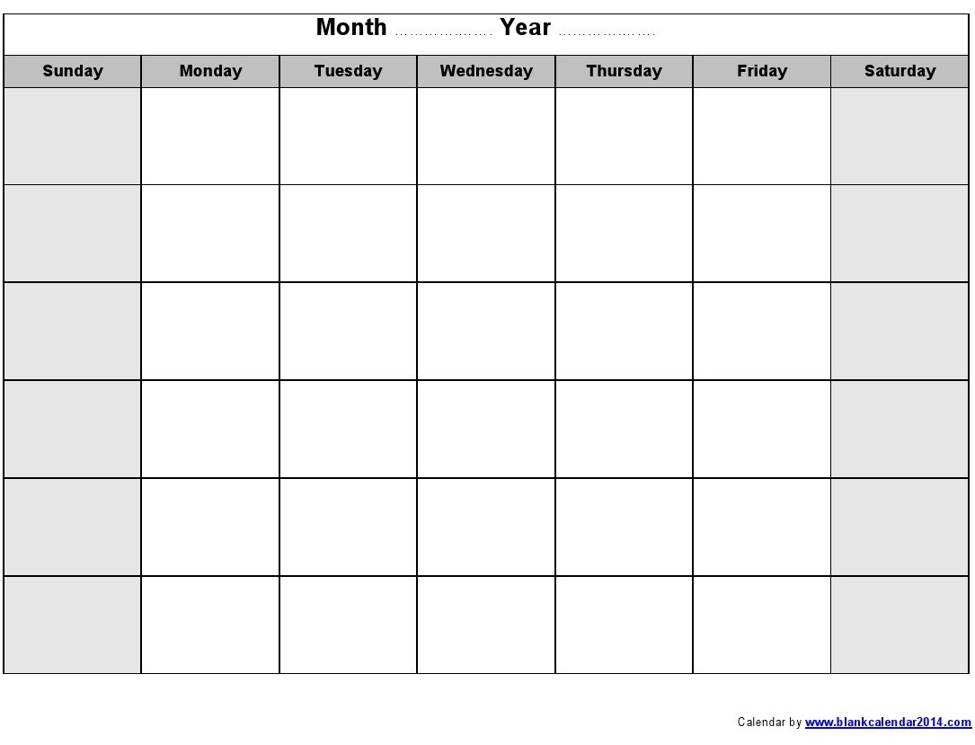 Monthly Calendar Printable