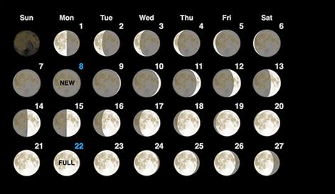 Moon Phases Calendar February, 2017