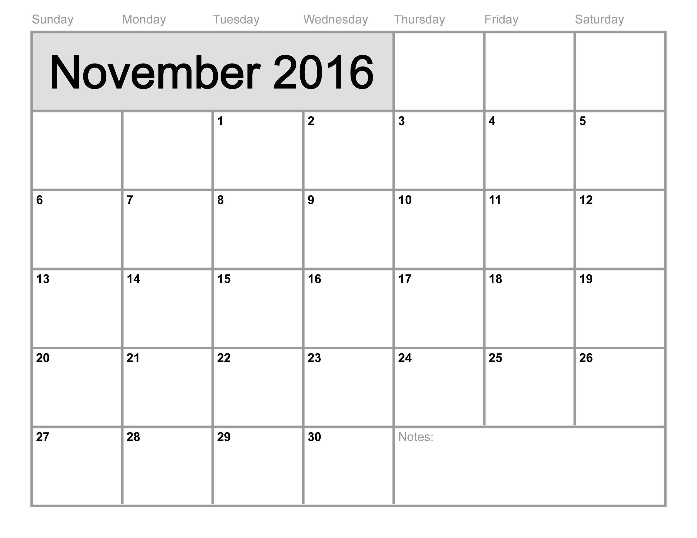 November 2017 Printable Calendar Templates | Free Printable