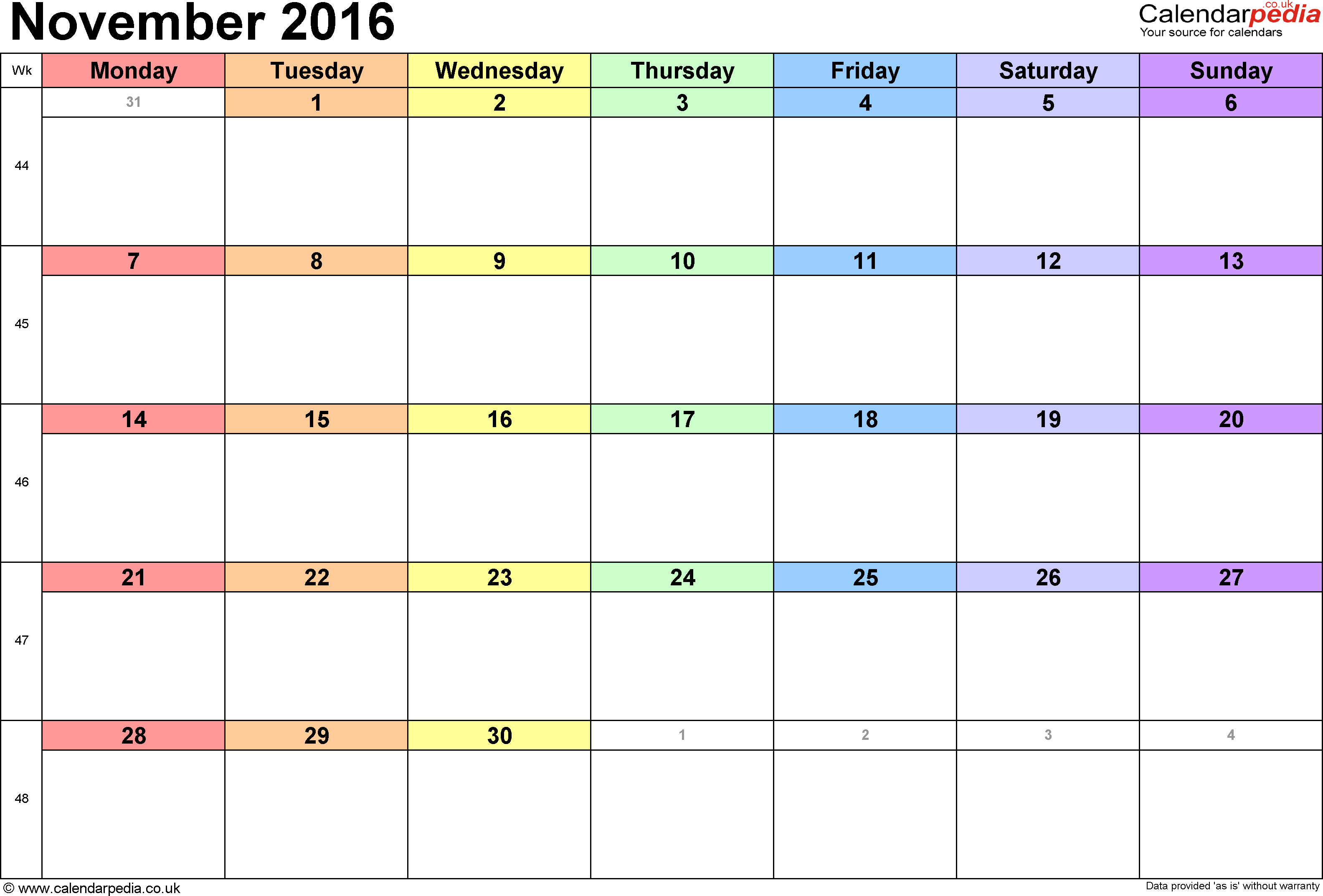 Calendar November 2016 UK, Bank Holidays, Excel/PDF/Word Templates