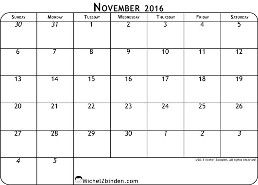 November 2016 Calendar Canada | 2017 calendar with holidays