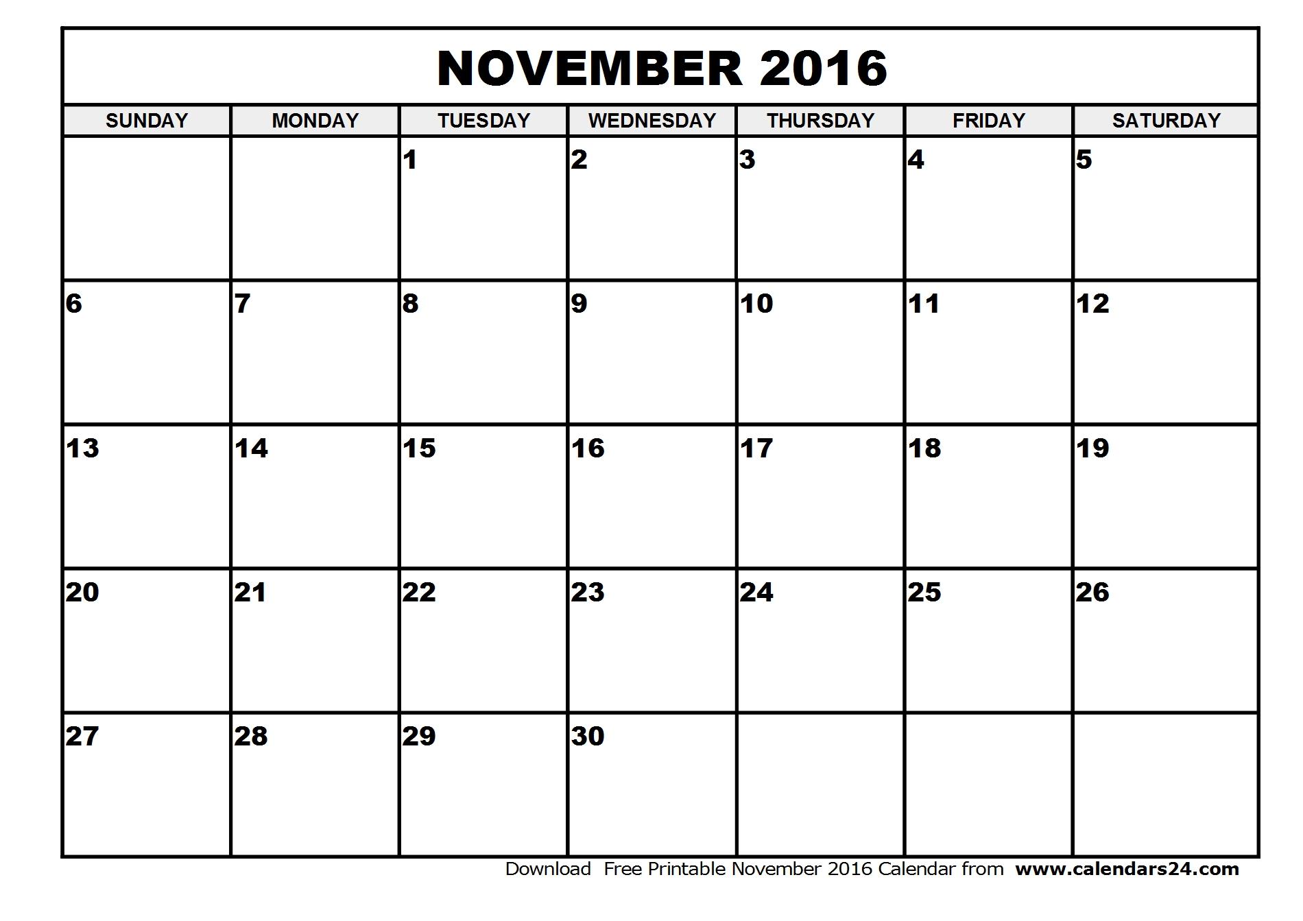 2016 November calendar canada