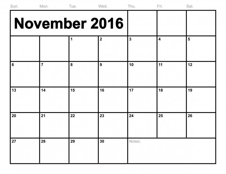 november 2016 calendar canada | New Calendar 2016