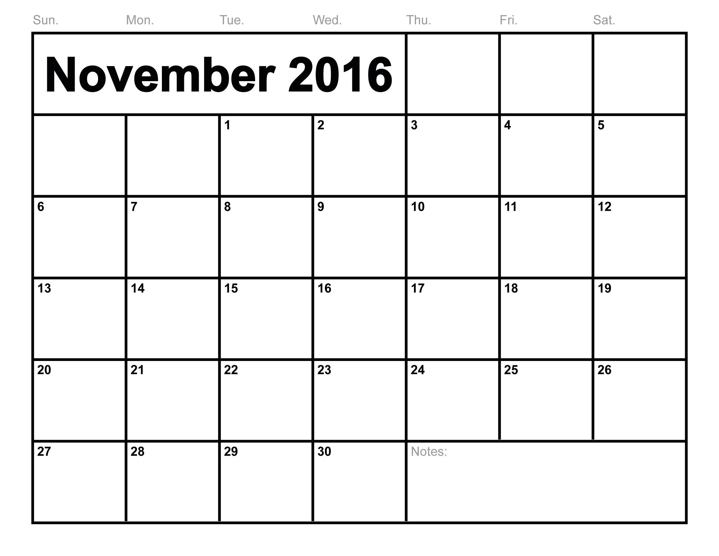 November Calendar 2016 Canada