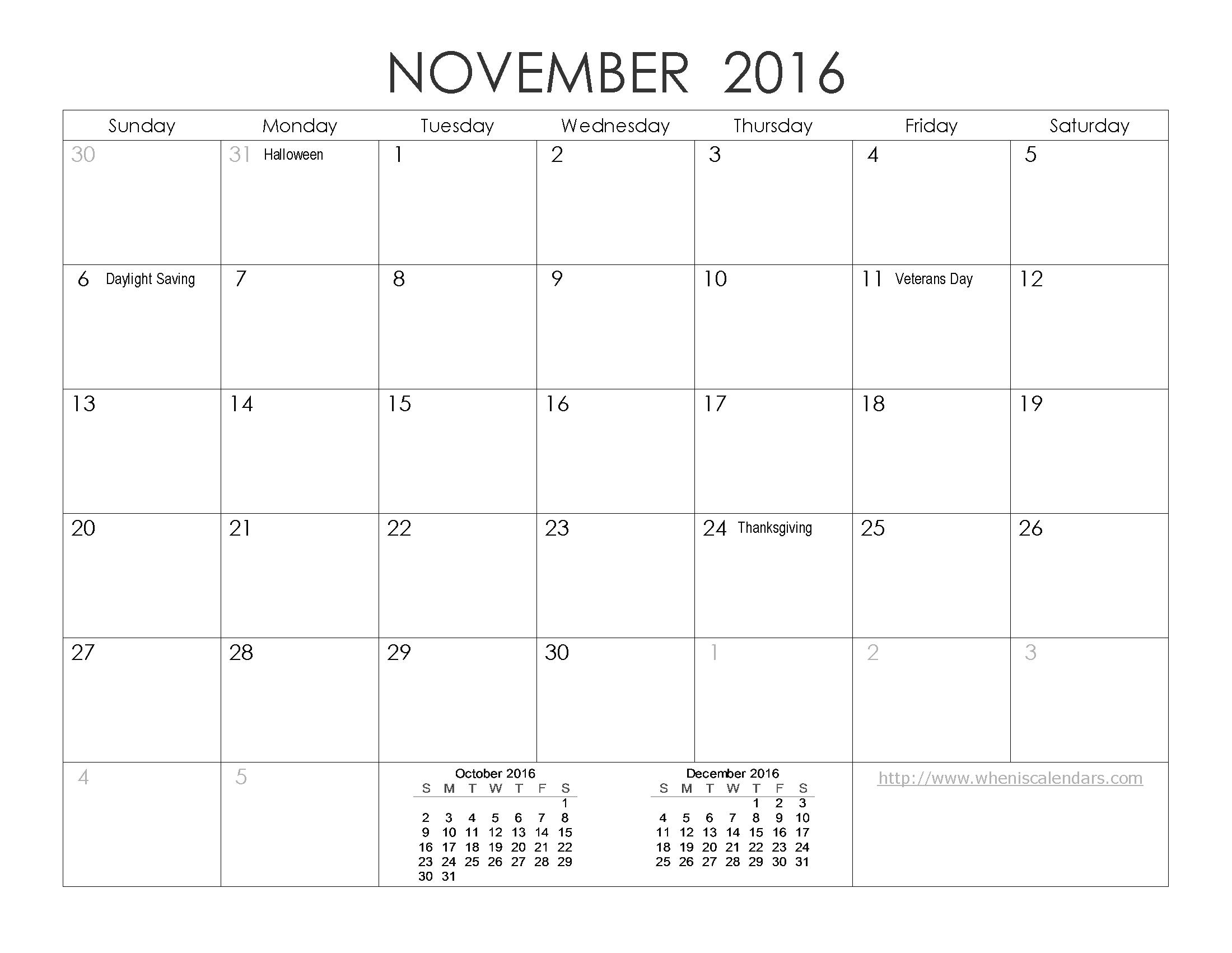 November 2016 Calendar Excel | 2017 calendar with holidays