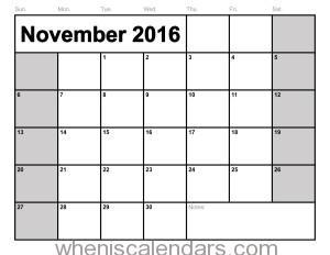 November 2016 Calendar Excel | monthly calendar printable